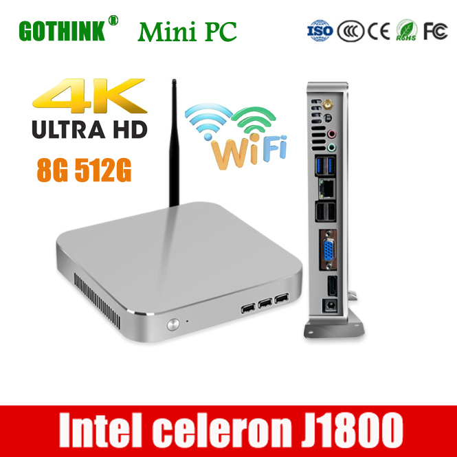 GOTHINK Mini Pc Intel Celeron J1800 Dual Core 2.41Ghz Frequency Support WIN7/8/10 LINUX System 2G 16G Pocket Pc