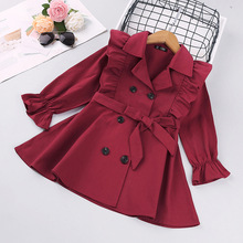 Outerwear Jacket Spring Toddler Baby-Girls Children Autumn Coat Solid with Belt Clothing