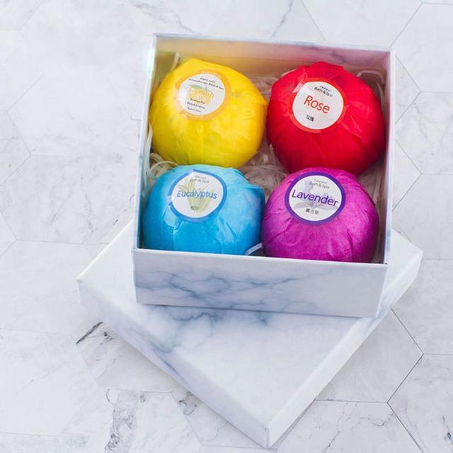 4pcs Bath Salt Ball Bubble Bomb Moisturize Exfoliating Cleaning Body Skin Care Essential Oil Women Bath Spa Salt 2