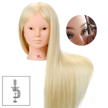 24 Inch 50% Real Human Hair Mannequin Head for Makeup Hairstyles Professional Practice Dummy Doll Heads with White Blonde Hair