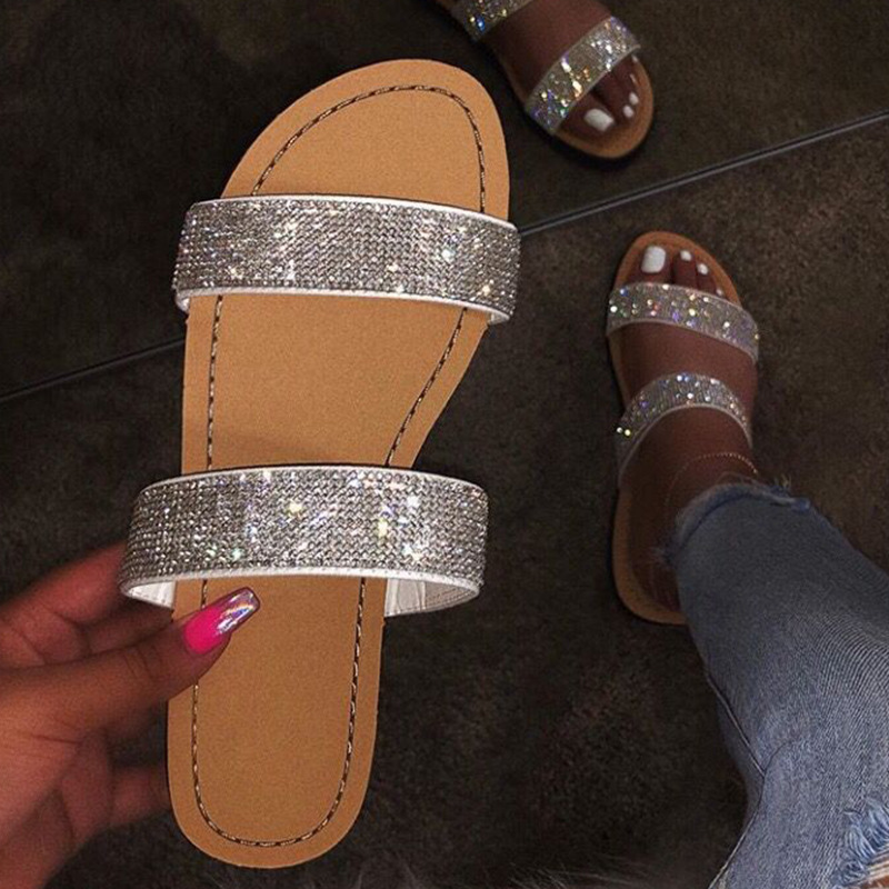 2020 Rhinestone Sandals Women Summer Slippers Open Toe Big Size Sandal Beach Slides Women Summer Shoes Gold Silver