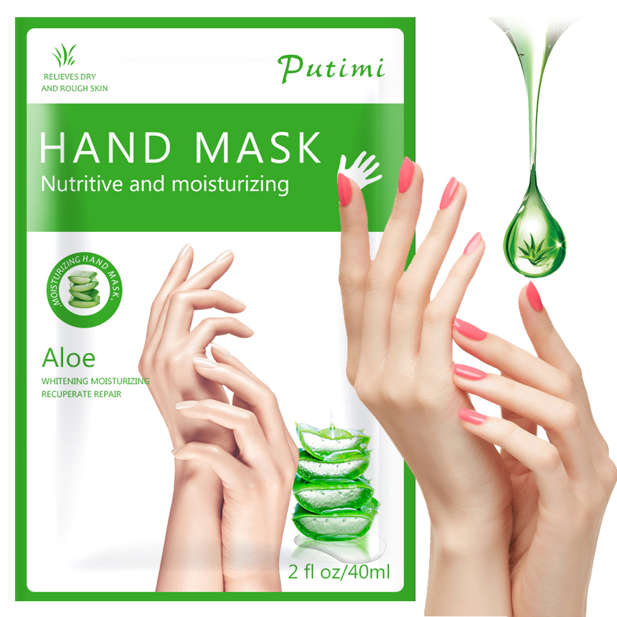 PUTIMI Aloe Hand Mask Peel Hand Care Moisturizing Spa Gloves Whitening Hand Cream Exfoliating Hand Scrub Remove Dead Skin Care