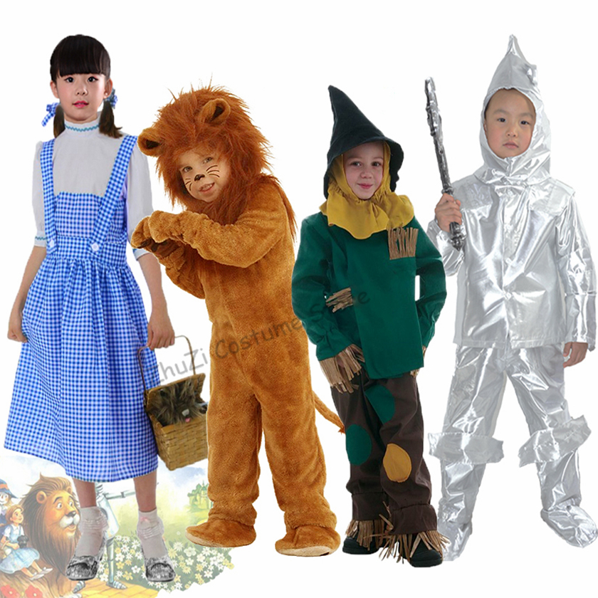 Wizard Of Oz Dorothy Scarecrow Tinman Lion Costume Baby Kids Animal Birthday Party Halloween Cosplay Costumes Role Play Jumpsuit