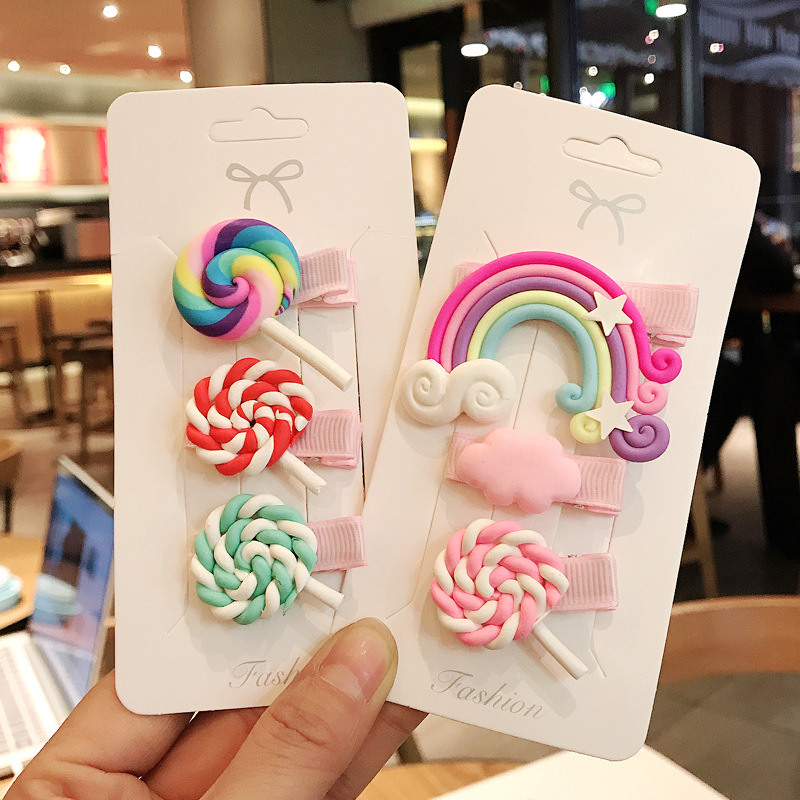 3pc/set Cute Girl Hairpins Lovely Cloud Lollipop Rainbow Cartoon Bobby Pin Hair Clips Girls Children Headband Kids Accessori