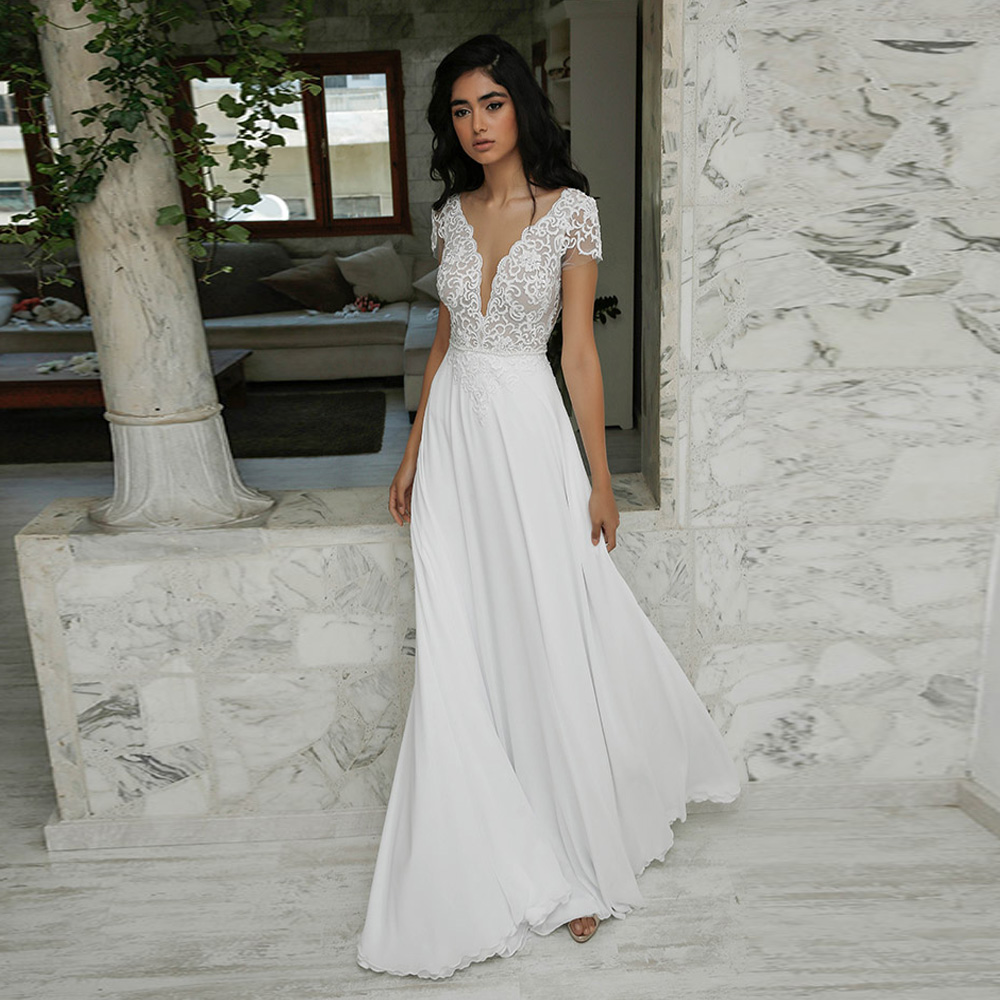 Cheap Sexy Beach Wedding Dress Boho Short Sleeves V-neck Deliate Lace Applique Chiffon Wedding Dresses Robe De Mariee