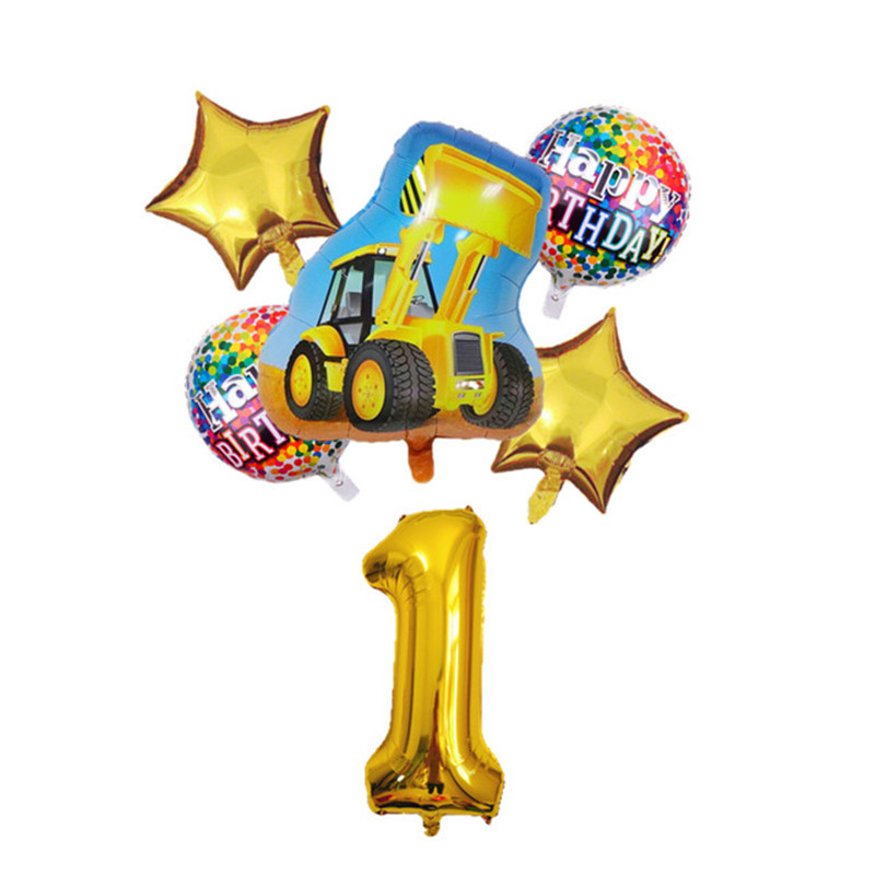 6pcs Cartoon Car Ballons Tractor Globos 32inch 1 2 3st Number Children Boy Gifts Birthday Party Holiday Decorations Kids Balls-4