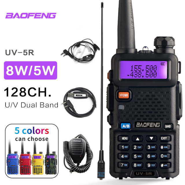 Portable Radio Set Baofeng UV 5R 5W Walkie Talkie UV5R Dual Band Handheld Two Way Radio Pofung UV 5R Walkie Talkie For Hunting