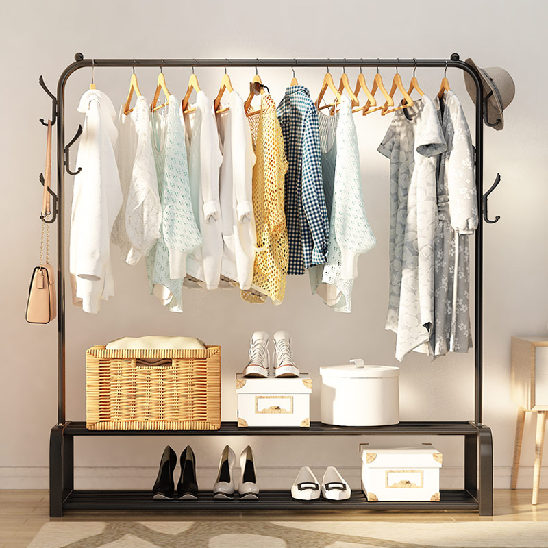 Floored Drying Rack Pole Style Coat Hanger Indoor Metal Clothing Rack Home Bedroom Storage Wardrobe Clothing Balcony Coat Rack