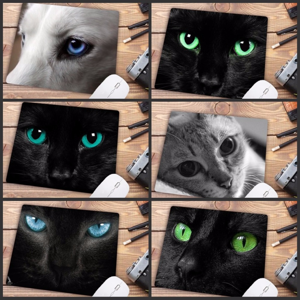 Big Promotion Cat Green Eyes Cat Face Gamer Play Mat Mousepad Design Pattern Computer Mousemat Gaming Mouse Pad 22X18CM