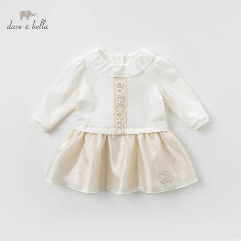 DB12957-1 dave bella spring baby girl's princess floral patchwork dress children fashion party dress kids infant lolita clothes