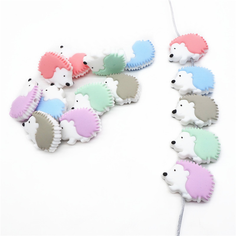 Chenkai 10PCS Silicone Hedgehog Teether Beads DIY Animal Teething Necklace Beads For Baby Dummy Cartoon Pacifier Toy Accessories