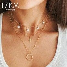 17 км винтажное многослойное ожерелье с подвеской для женщин богемное новое Золотое круглое Сердце Луна Звезда чокер ожерелье модные украшения