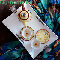 European Carved Rectangular Ceramic Tray Hotel Household Storage Supplies Chinese Style Tea Tray Hand painted Storage Tray
