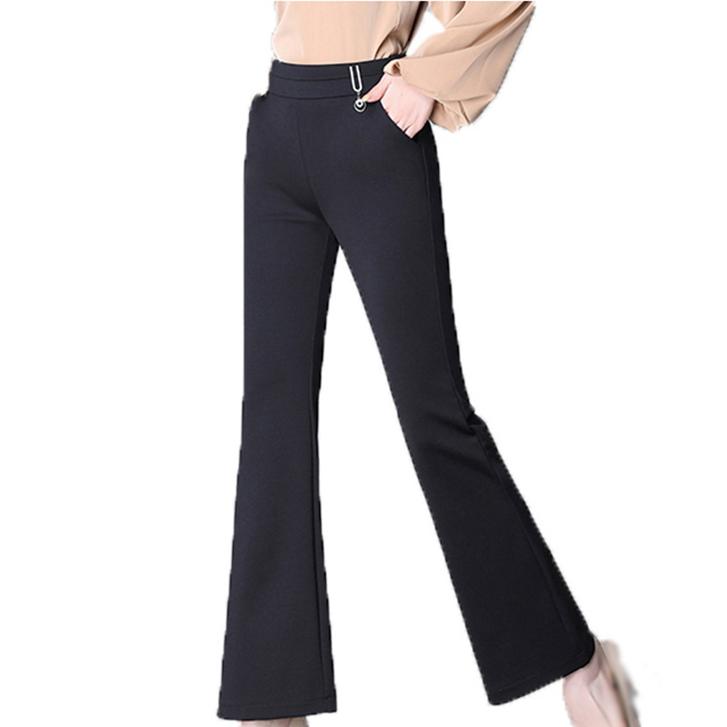 Women's Pants Autumn Winter Casual High Waist Trousers Flare Pants Solid Color Slim Fit Elastic Casual Ladies Pants 6