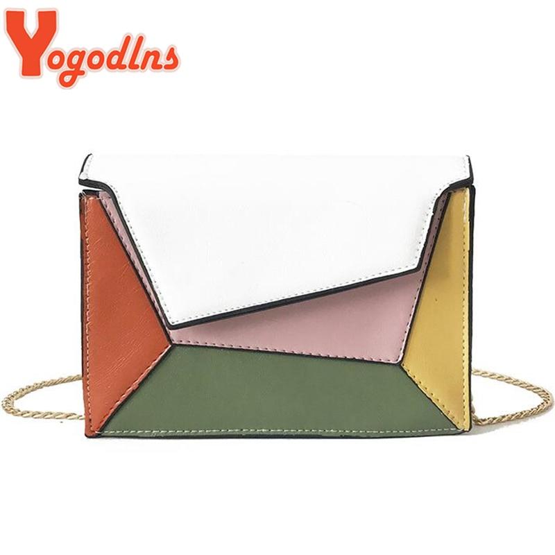 Yogodlns Chic Contrast Color Women Clutch Bag Chains Shoulder Bags Flap Messenger Sling Bag Patchwork PU Leather Crossbody Purse