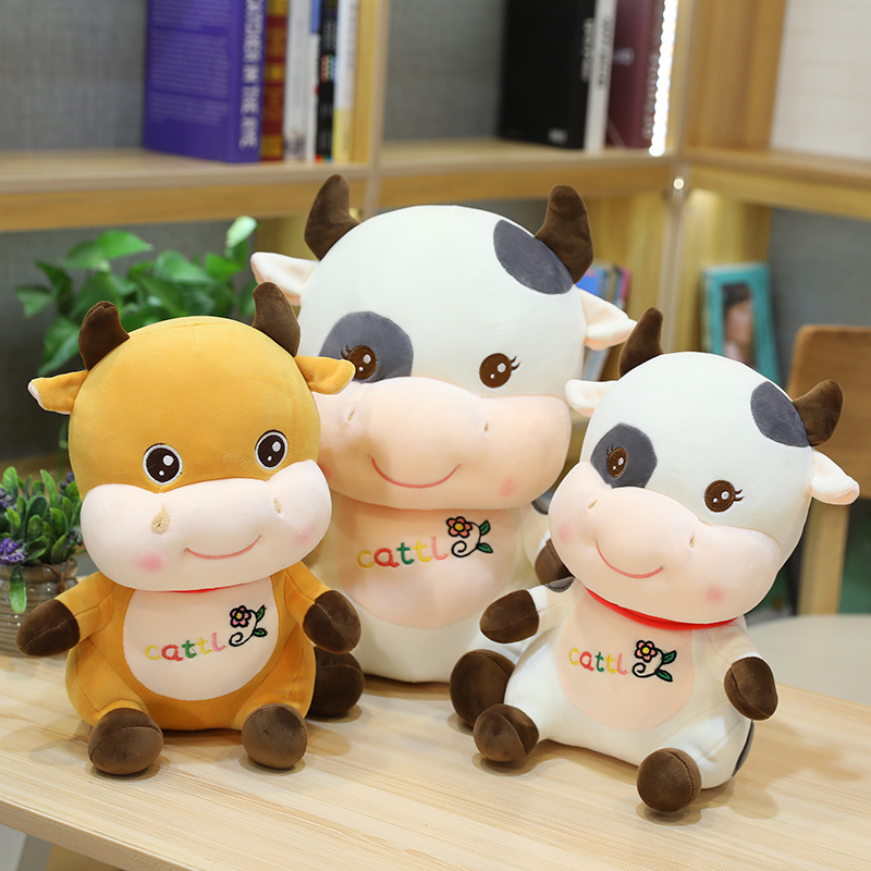 Hot Nice Huggable New 1pc 25cm/30cm/40cm Cute Soft Cattle Stuffed Kawaii Cow Plush Toy Animal Doll for Kids Baby Lovely Gift  - buy with discount