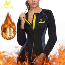 Утепленная рубашка NINGMI из неопрена для сауны, Корректирующее белье для похудения талии, женский спортивный топ на молнии, сетчатая блузка, Корректирующее белье с длинным рукавом