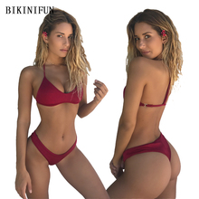 цены New Solid Color Bikini Women Swimsuit Girl Sexy Thong Bikini Strappy Bandage Swimwear S-L Padded Bathing Suit Micro Bikini Set