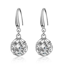 Romantic Love Heart Hollowing Out Ball 925 Sterling Silver Lady Drop Earrings Wholesale Jewelry Women Gift Cheap