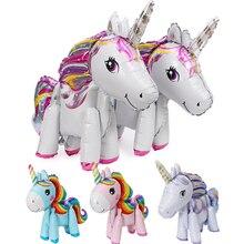 1 шт. 57*58 см розовая маленькая лошадка фольгированные воздушные шары-единороги гелиевые воздушные шарики, детские игрушки на свадьбу, день рождения, животные, вечерние принадлежности для декора