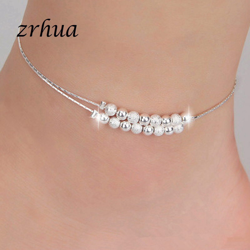 Bohemia 925 Silver Anklets For Women Multilayer Beads Pendant Anklet Sexy Foot Jewelry Best Gift Christmas Bijoux Decoration