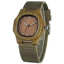 Деревянные часы для мужчин и женщин, оригинальные часы с круглыми циферблатами, корпус из светлого дерева, ремешок из натуральной кожи, часы из бамбукового дерева, мужские часы