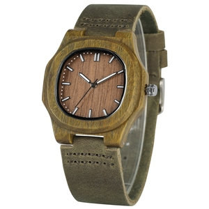 Image 1 - Men Women Wooden Watch Creative Round Shape Dial Light Wood Case Genuine Leather Band Bamboo Wood Clock Male Reloj de madera TOP