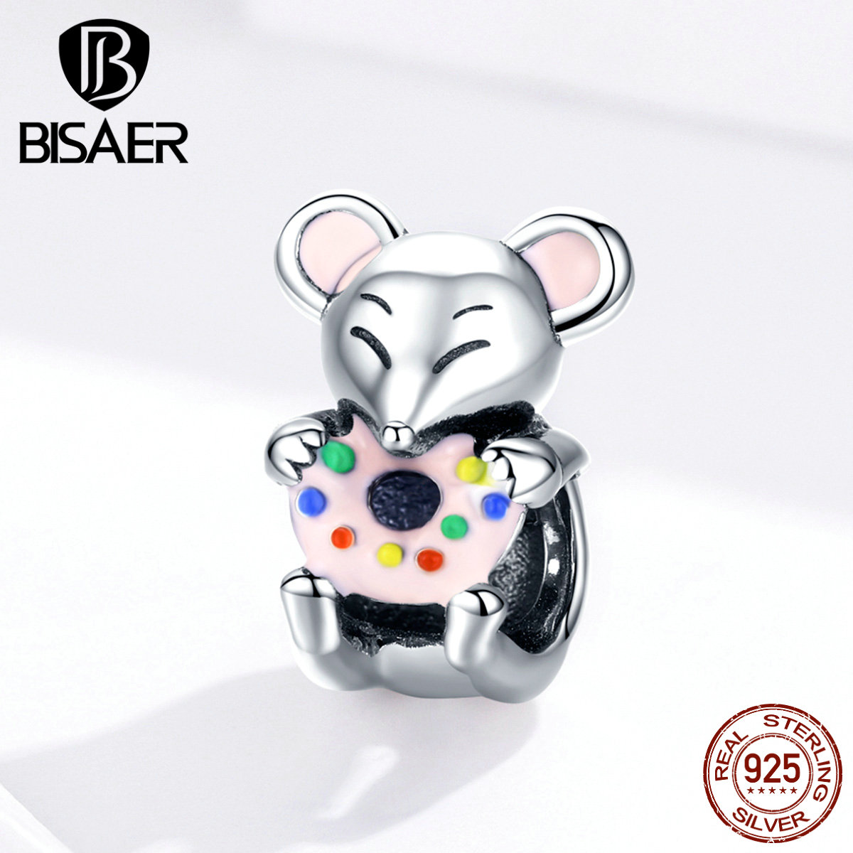 Animal Charms BISAER 925 Sterling Silver Little Mouse Rat Beads Charms Fit Women Bracelets Silver 925 Original Jewelry ECC1318