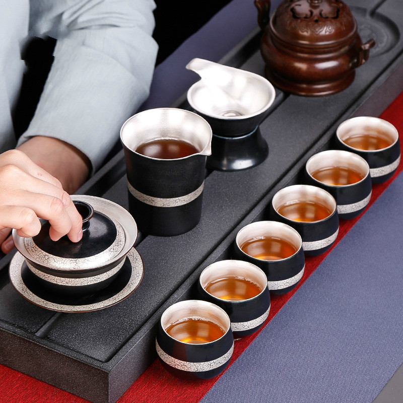 Porcelain Silver Tea Drinking Set Household Small Chinese Zen Tea Cup Simple Tea Cup 6 Cup Gift