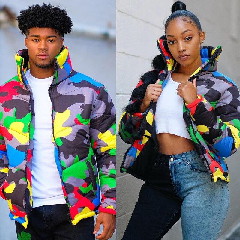 2019 Camo Print Winter Jacket Women Festival Warm Parka Down Bubble Coat Top Warm Thick Parka Couple Wear Crop Puffer Jacket 4XL