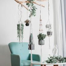Vintage Macrame Hanging Baskets 100% Cotton Handmade Flowerpot Net Plant Hanger Holder Hanging Flowerpot Basket Pots Holder