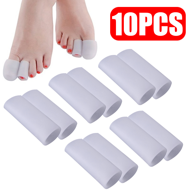 5 Pairs Silicone Gel Finger Tube Protector Toe Sleeves For Friction Pain Relief Foot Care Tool Finger Protect
