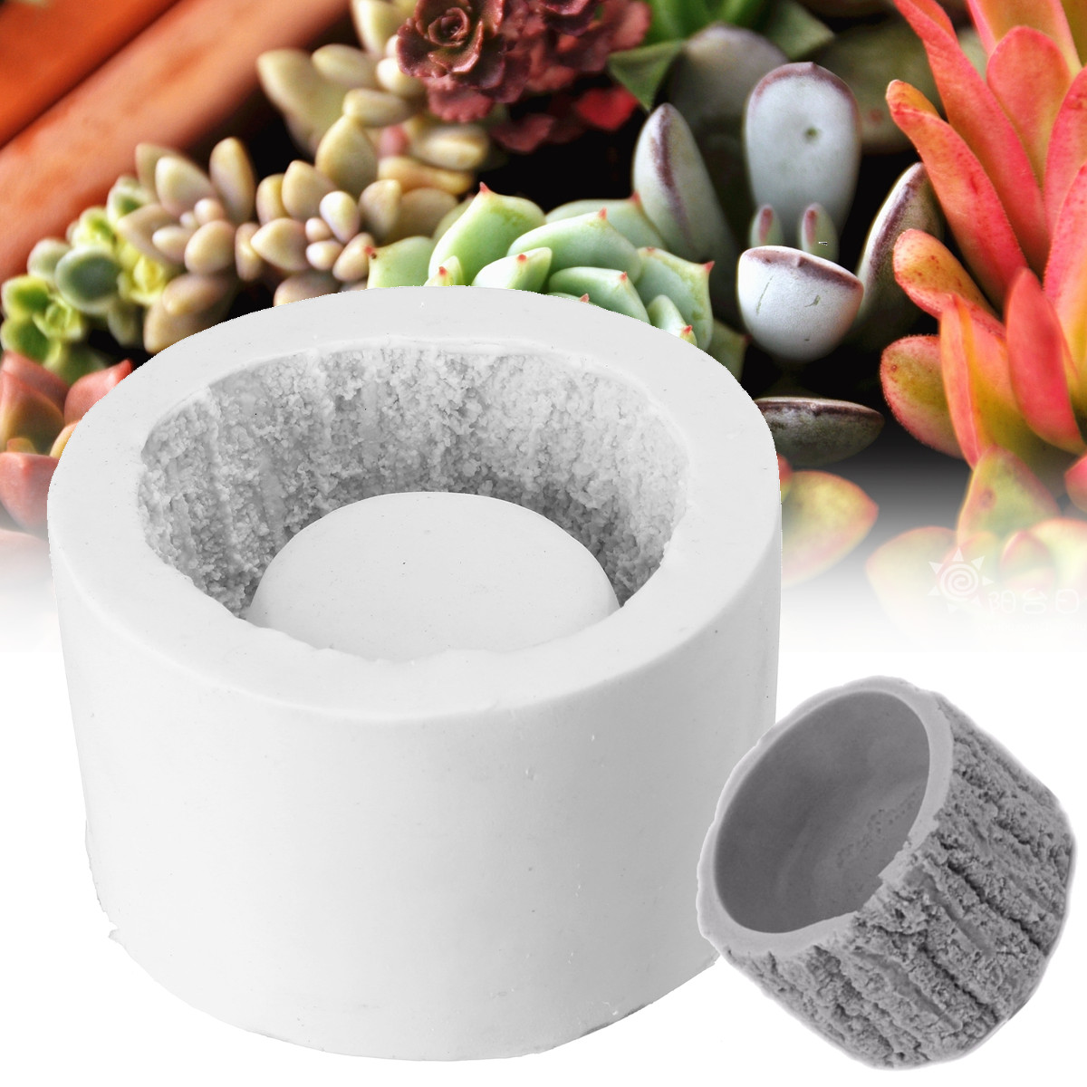 3D Concrete Planter Cactus Cement Silicone <font><b>Mold</b></font> DIY Clay Craft <font><b>Flower</b></font> Pot <font><b>Mold</b></font> Silicone Ceramic Plaster <font><b>Vase</b></font> Mould Random Color image