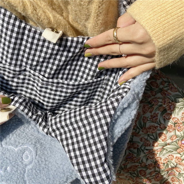 Hylhexyr Women Soft Plush Tote Simple Warm Cloth Shopper Bags Embroidery Bear Handbag  Eco Shoulder Bag Purses For Girls 6