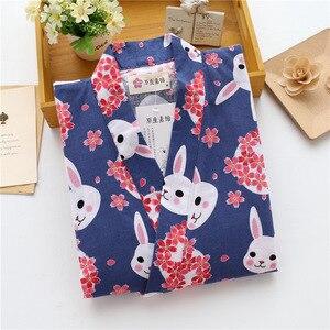 Image 4 - KISBINI Autunno Pigiama Imposta Per Le Donne Femminile Solido Vestiti A Casa il Vestito di Cotone Lungo Stile Giapponese Signore Homewear Primavera Pigiama