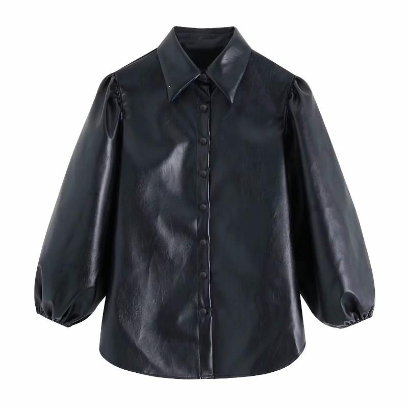 Women Sexy Long Sleeves Buttons Womens Tops And Blouses Ladies Pu Leather Blouses Streetwear Casual Chic Shirts