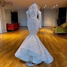 Di lusso Della Sirena 2019 Africano Dubai Abiti da ballo Collo Alto In Rilievo Cristalli Chic Vestito Da Sposa Maniche Lunghe Abiti Da Sera Formale