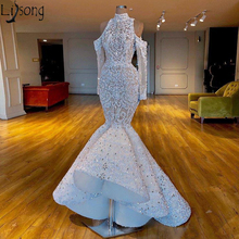 Luxueux sirène 2019 africain dubaï robes de bal col haut perles cristaux Chic robe de mariée manches longues robes de soirée formelles