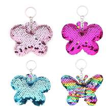 Colorful Cute Butterfly Sequin Glitter Key Chains Pendant Keychain Key Ring Holder Bag Hanging Decors(China)
