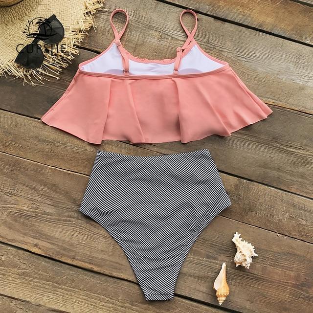 Pink and Stripe High Waisted Bikini Set