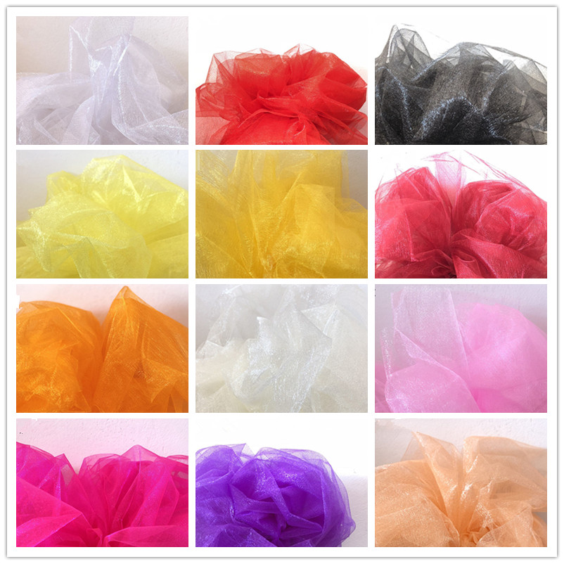 5M 10M Organza Wedding Chairs Cover Sheer Crystal Organza Tulle Roll Fabric Party Decoration mariage home decoration accessories Pakistan