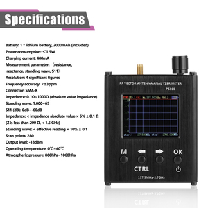 Image 2 - PS100 137.5MHz 2.7GHz Antenna Analyzer Standing Wave Meter Antenna Tester RF Vector Impedance Analyzer