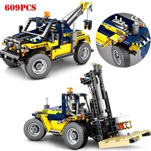 Carretilla elevadora de ingeniería de vehículos de construcción 2 en 1, la técnica de bloques de construcción, camión de bloques urbanos, juguetes educativos para niños, regalos
