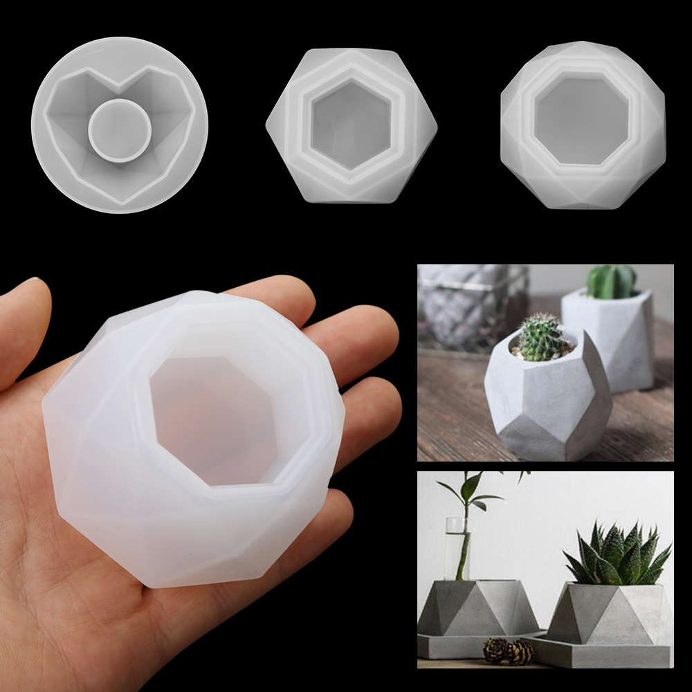 Silicone Plant Pot Molds Form Arts Craft Polygonal Casting Moulds DIY Succulent Flowerpot Clay Mold 3 Styles Concrete Mould|Clay Molds|   - AliExpress