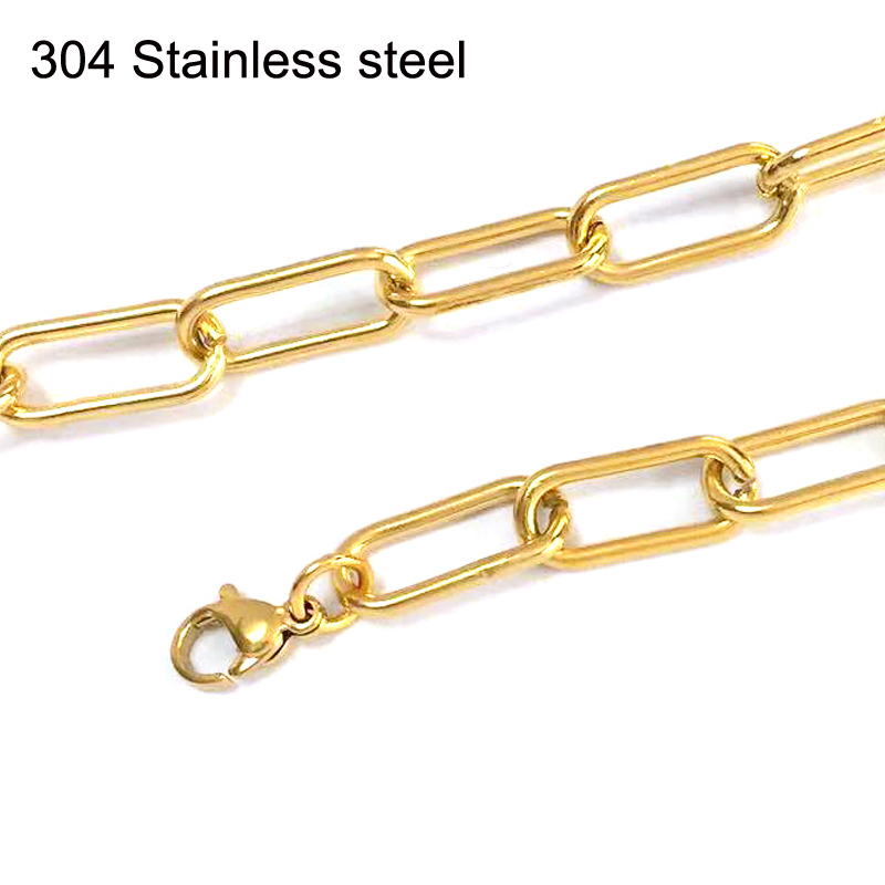 Mens necklace hip-pop Oval Long O link chain Silver/gold color necklace chain Stainless Steel Male necklace dropshipping Jewelry