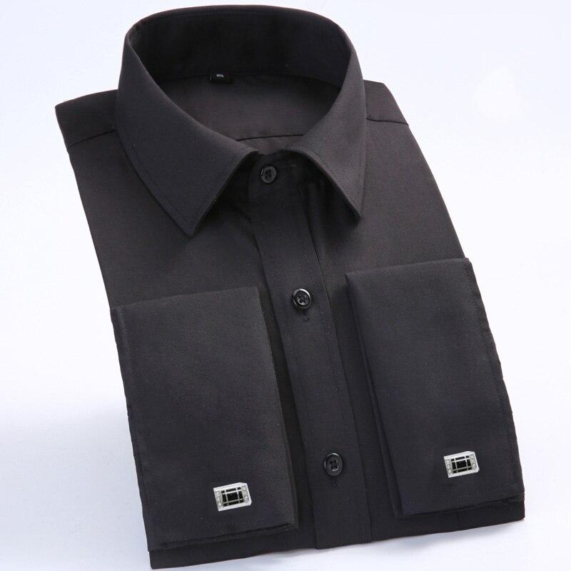 Men's Dress Shirts Loose French Cuff Regular fit Luxury Striped Business Long Sleeve Cufflinks Social Plus Size Men Shirt 6XL 6