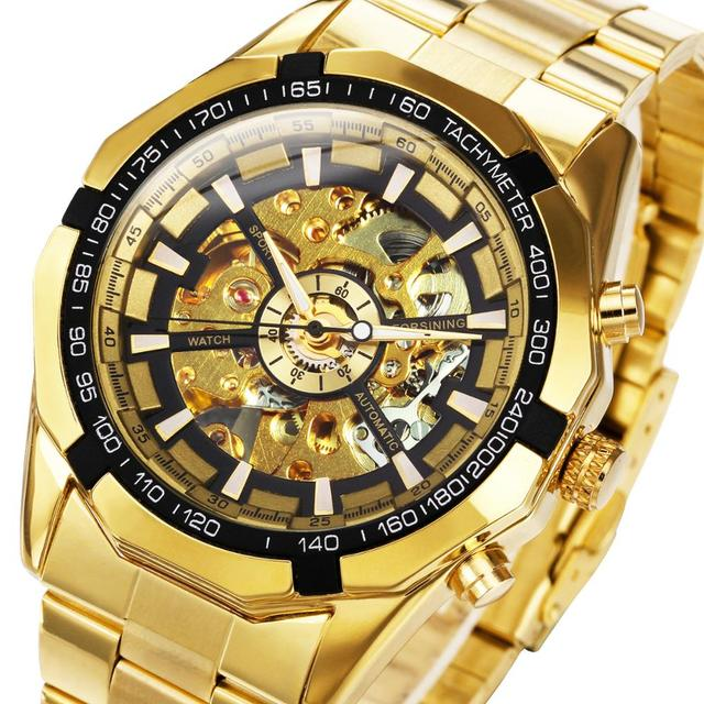 Vencedor oficial clássico relógio automático masculino esqueleto mecânico dos homens relógios marca superior luxo ouro aço inoxidável cinta