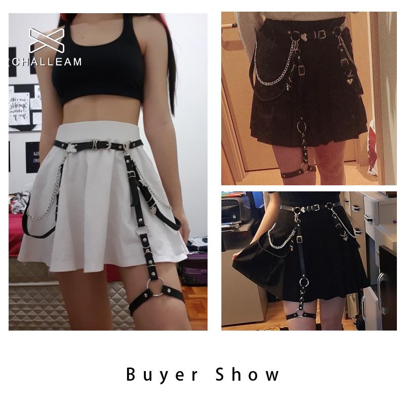 Women Skirt Belt Female Pu Leather Hiphop Rock Nightclub Sexy Jeans Dress Heart Punk Belt With Metal Waist Chain 383