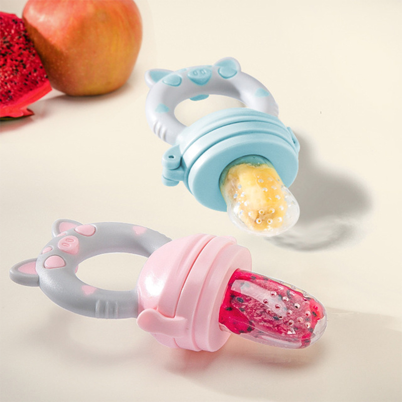 Small Pig Handle Pacifier Feeder For Baby Food Grade Silicone PP Infant Training Nipple Teat Milk Fresh Fruit Nibble Pacifier