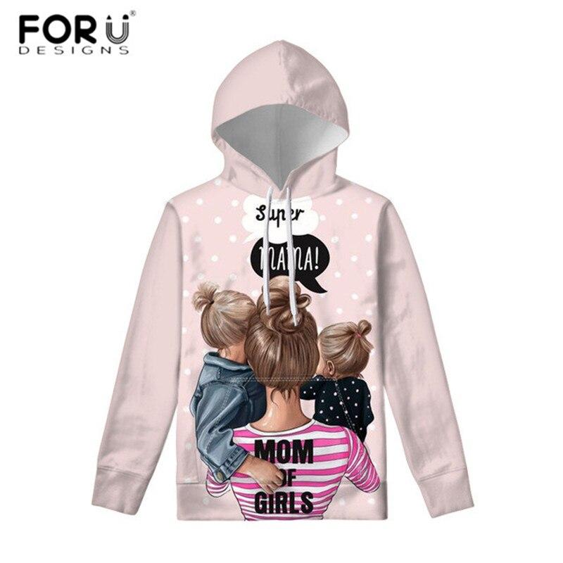 FORUDESIGNS Cute Pink Hoodie Black Brown Hair Baby Mom Girl Queen Print Women Hoodies Oversized Hoodie Sweatshirt Christmas Gift